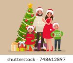 merry christmas and a happy new ... | Shutterstock .eps vector #748612897