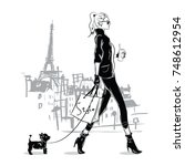 fashion girl in sketch style... | Shutterstock .eps vector #748612954