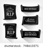 funeral rest in peace banners ... | Shutterstock .eps vector #748613371