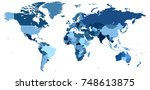 a detailed vector world map... | Shutterstock .eps vector #748613875