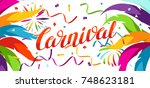 carnival party banner with... | Shutterstock .eps vector #748623181