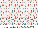 endless christmas pattern with... | Shutterstock .eps vector #748626271