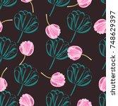 seamless retro 1940s pattern in ... | Shutterstock .eps vector #748629397