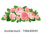 bouquet of pink roses with buds ... | Shutterstock .eps vector #748630045