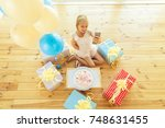little birthday girl smiling ... | Shutterstock . vector #748631455