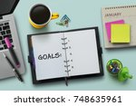 new year goals  resolution or... | Shutterstock . vector #748635961