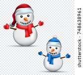 christmas snowman set with... | Shutterstock .eps vector #748638961