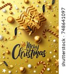 christmas and new years golden... | Shutterstock .eps vector #748641097
