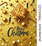 christmas and new years golden... | Shutterstock . vector #748641121