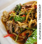Small photo of Local thai food closeup ,made from frog name as Kob Pad Ped.