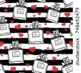 vector seamless perfume bottles ... | Shutterstock .eps vector #748652479
