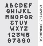 alphabet design set numbers and ... | Shutterstock .eps vector #748652905