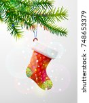 christmas tree branch with... | Shutterstock .eps vector #748653379