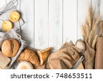 homemade breads or bun ... | Shutterstock . vector #748653511