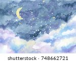 watercolor painting of night... | Shutterstock . vector #748662721