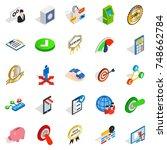 leadership icons set. isometric ... | Shutterstock . vector #748662784