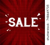 sale greeting card with red... | Shutterstock .eps vector #748669735