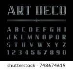 vector of art deco font and... | Shutterstock .eps vector #748674619
