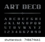 vector of art deco font and... | Shutterstock .eps vector #748674661