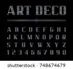 vector of art deco font and... | Shutterstock .eps vector #748674679