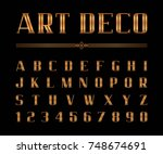 vector of art deco font and... | Shutterstock .eps vector #748674691