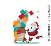 cartoon santa claus pushing a... | Shutterstock .eps vector #748675207
