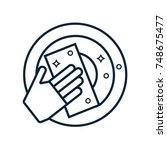 glove  sponge and plate.... | Shutterstock .eps vector #748675477