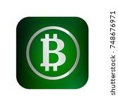 bitcoin icon button. vector.... | Shutterstock .eps vector #748676971