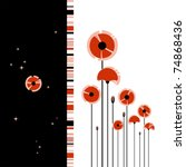Abstract Red Poppy On Black An...