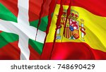 basque and spain flags with... | Shutterstock . vector #748690429