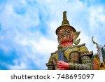 wat phra kaew or the temple of... | Shutterstock . vector #748695097