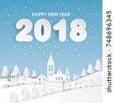 happy new year 2018 text design ... | Shutterstock .eps vector #748696345