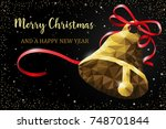 christmas bell with ribbon... | Shutterstock .eps vector #748701844