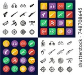 shooting range all in one icons ... | Shutterstock .eps vector #748708645