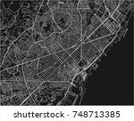 black and white vector city map ... | Shutterstock .eps vector #748713385