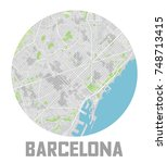 minimalistic barcelona city map ... | Shutterstock .eps vector #748713415