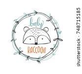 cute raccoon head with baby... | Shutterstock .eps vector #748715185