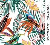 abstract color tropical birds... | Shutterstock .eps vector #748718584