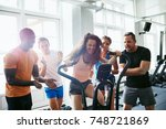 cheering group of friends...   Shutterstock . vector #748721869