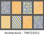 halftone lines  fir tree... | Shutterstock .eps vector #748722511