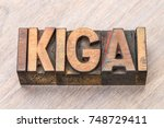 Small photo of ikigai - Japanese concept of a reason for being or a reason to wake up - word abstract in vintage wood type