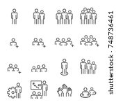 people icons line work group... | Shutterstock .eps vector #748736461