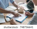 business concept   close up... | Shutterstock . vector #748736641