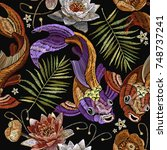 embroidery vintage koi fish ... | Shutterstock .eps vector #748737241