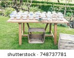 vintage teacups on a table | Shutterstock . vector #748737781