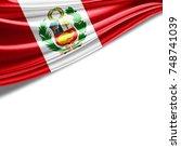 peru flag of silk with... | Shutterstock . vector #748741039