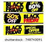 set black friday sale web... | Shutterstock .eps vector #748743091