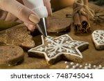 beautiful christmas cakes.... | Shutterstock . vector #748745041
