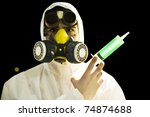 scientist in gas mask and... | Shutterstock . vector #74874688