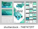 website template  one page... | Shutterstock .eps vector #748747297